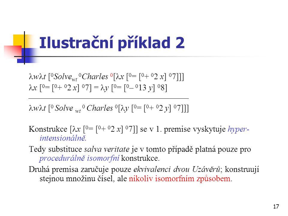 Ilustrační příklad 2 wt [0Solvewt 0Charles 0[x [0= [0+ 02 x] 07]]]